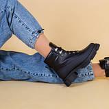 Ботинки женские кожаные черные зимние на шнурках и с замком, фото 6