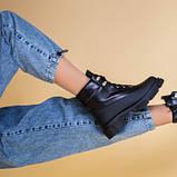 Ботинки женские кожаные черные зимние на шнурках и с замком, фото 7