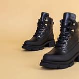 Ботинки женские кожаные черные зимние на шнурках и с замком, фото 8