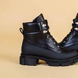 Ботинки женские кожаные черные зимние на шнурках и с замком, фото 9