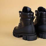 Ботинки женские кожаные черные зимние на шнурках и с замком, фото 10