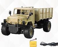 Детская игрушка для мальчиков Военная машина на радиоуправлении с пультом, встроенный аккумулятор, бежевая, фото 1