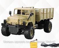 Детская игрушка для мальчиков Военная машина на радиоуправлении с пультом, встроенный аккумулятор, бежевая