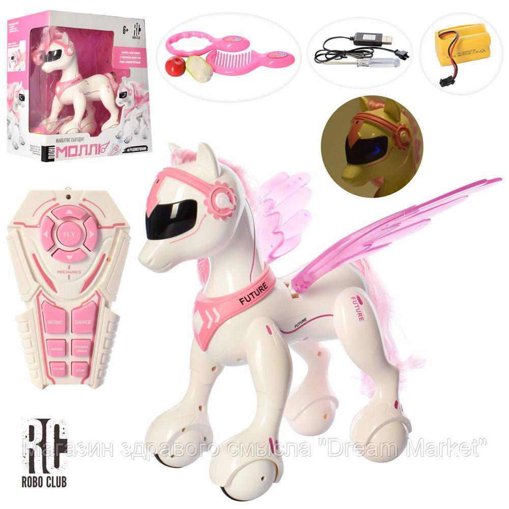 Детская интерактивная игрушка для девочек Пони-пегас на радиоуправлении с пультом, световые и звуковые эффекты