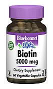 Биотин (B7) 5000мкг, Bluebonnet Nutrition, 60 гелевых капсул