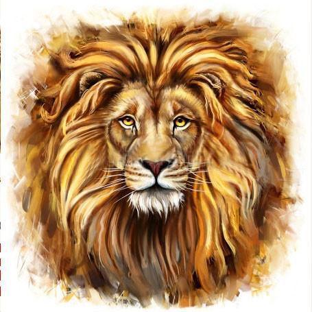 Алмазная мозаика Взгляд льва 40x40см DM-051 Полная зашивка. Набор алмазной вышивки