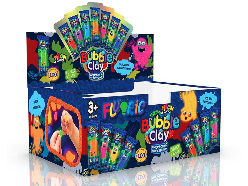 """Креативна творчість """"BUBBLE CLAY """"FLUORIC"""" в брикетах зростав (100)"""