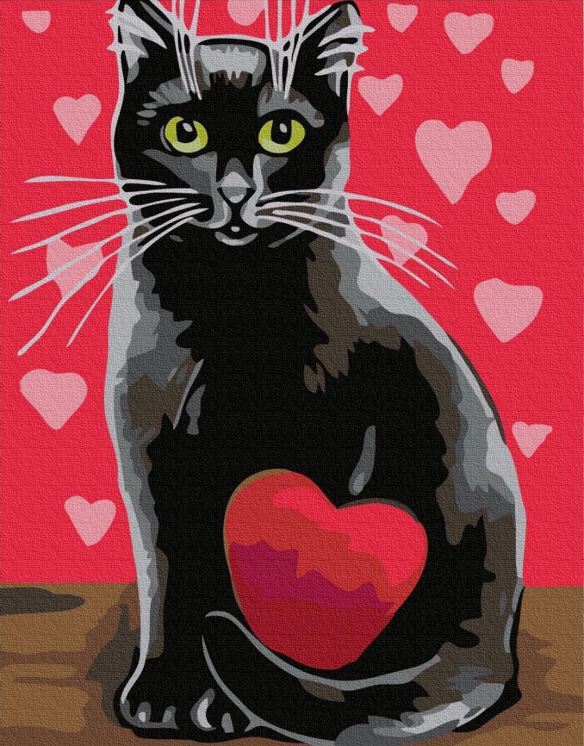Картина рисование по номерам Brushme Кот в любви GX32347 40х50см набор для росписи, краски, кисти, холст