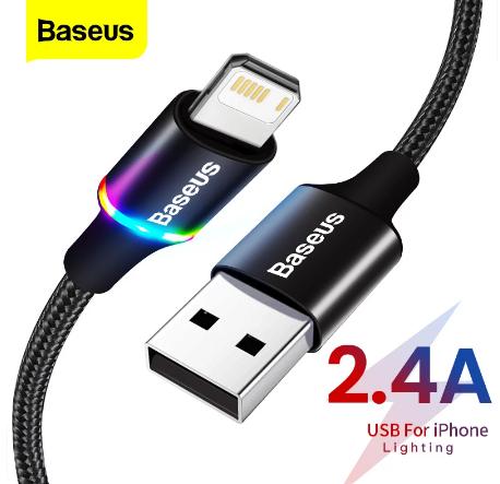 Кабель Baseus со светодиодной подсветкой для iPhone Ligtning 2.4A Цвет Чёрный 1 метр Быстрая зарядка