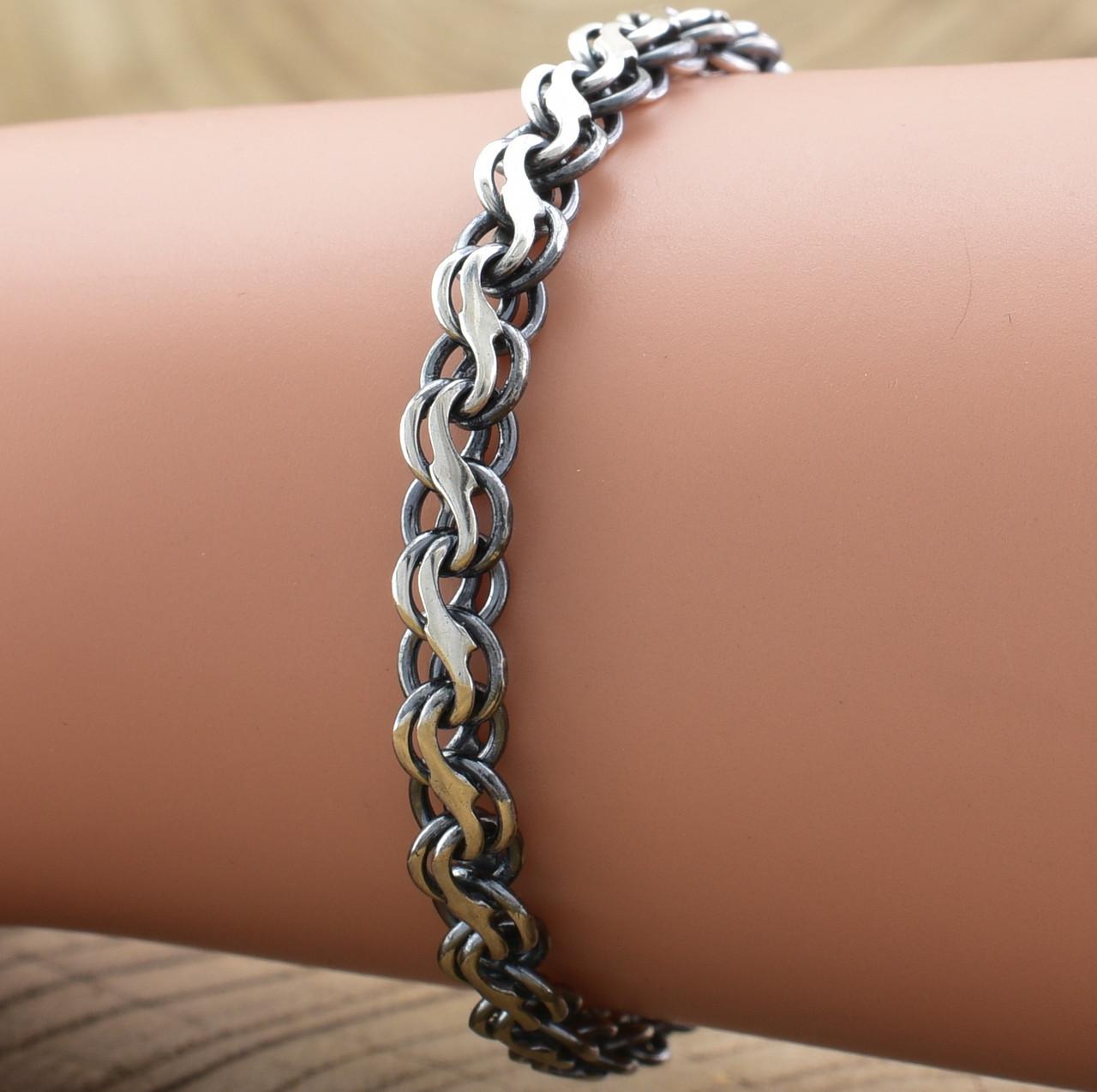 Серебряный браслет с чернением Венеция длина 20 см ширина 5 мм вес серебра 8.6 г