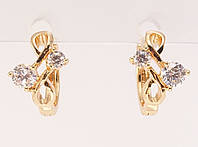 """Серьги M&L колечки """"Косичка с двумя кристаллами"""", фото 1"""