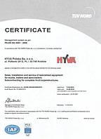 Сертифікат системи менеджменту згідно з PN-EN ISO 9001: 2009
