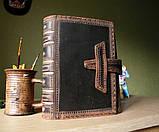 Обложка кожаная на кнопочной застежке  книги библия ручная работа оригинальный подарок, фото 8