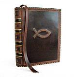 Обложка кожаная на кнопочной застежке  книги библия ручная работа оригинальный подарок, фото 9
