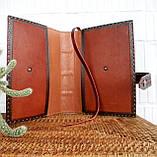 Обложка кожаная на кнопочной застежке  книги библия ручная работа оригинальный подарок, фото 6