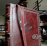 Обложка кожаная на кнопочной застежке  книги библия ручная работа оригинальный подарок, фото 3