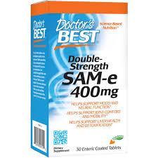 Doctor's Best, SAM-e, 400 мг, двойная сила, 30 таблеток, покрытых кишечнорастворимой оболочкой
