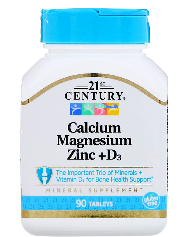 Кальций, магний, цинк + D3, 21 CENTURY 90 таблеток