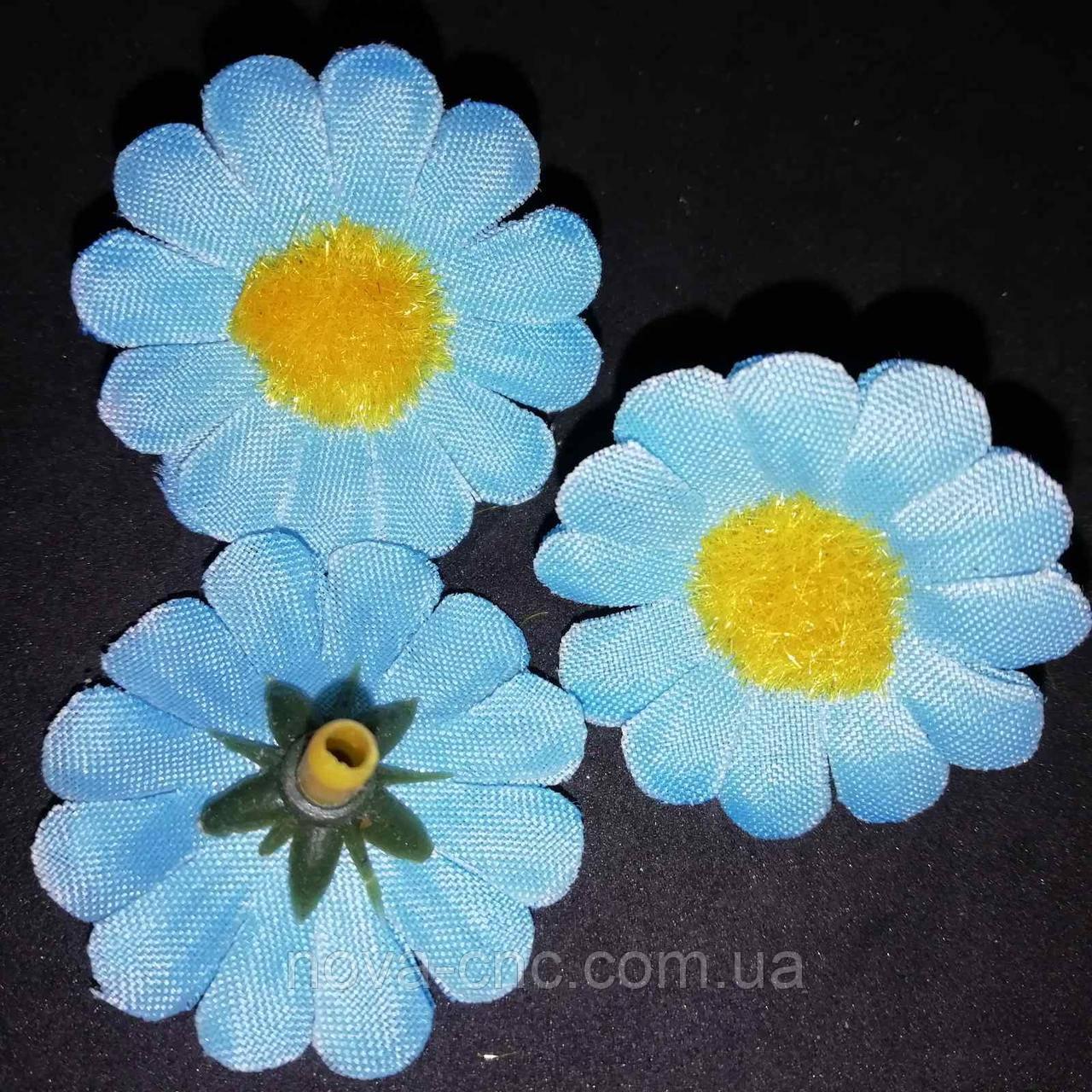 """Цветок тканевый """"Ромашка"""" голубой 3 см 100 шт в упаковке"""