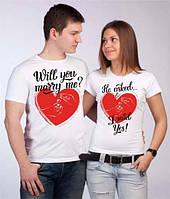 """Парные футболки с принтом """"Предложение руки и сердца"""" Push IT"""