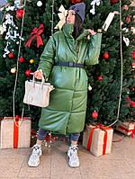 Шикарный кожаный зимний пуховик-одеяло, фото 1