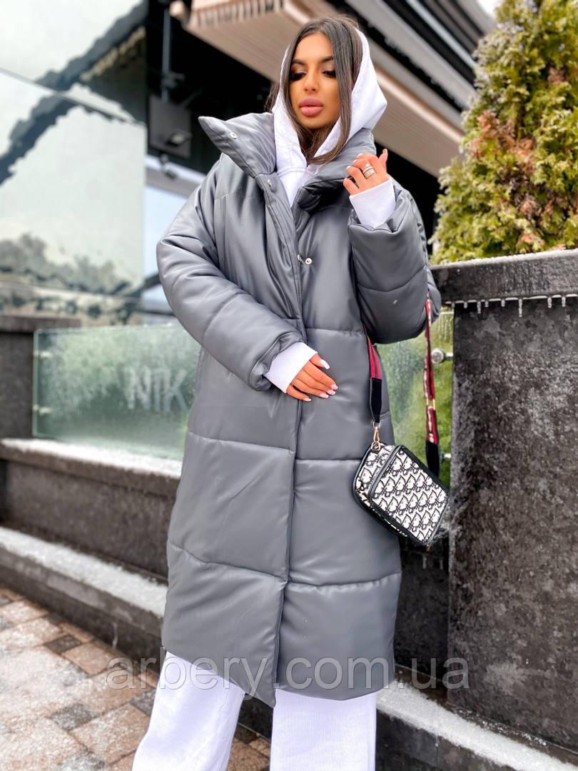 Шикарный кожаный зимний пуховик-одеяло