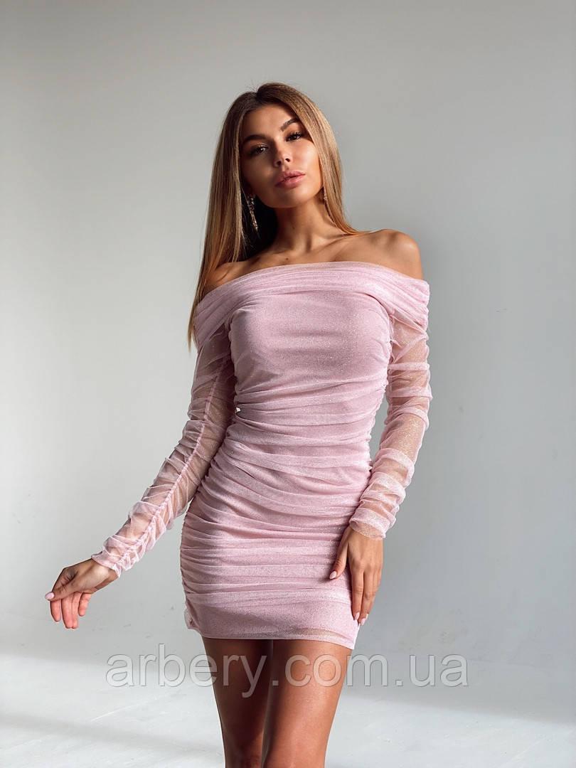 Шикарное мерцающее платье с сеткой
