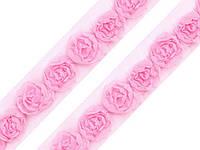 Тесьма кружевная розовая 20 мм