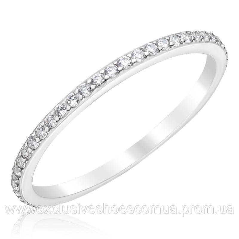 Серебряное тоненькое кольцо с камнями по всей окружности