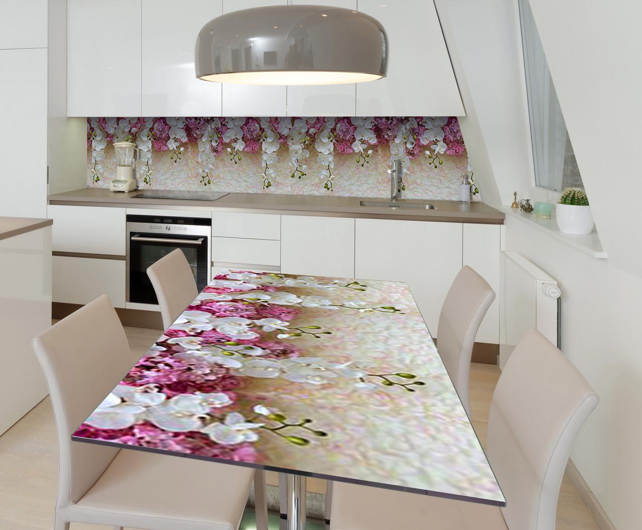 Наклейка 3Д виниловая на стол Zatarga «Дождь орхидей» 650х1200 мм для домов, квартир, столов, кофейн, кафе