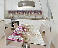 Наклейка 3Д виниловая на стол Zatarga «Дождь орхидей» 650х1200 мм для домов, квартир, столов, кофейн, кафе, фото 1