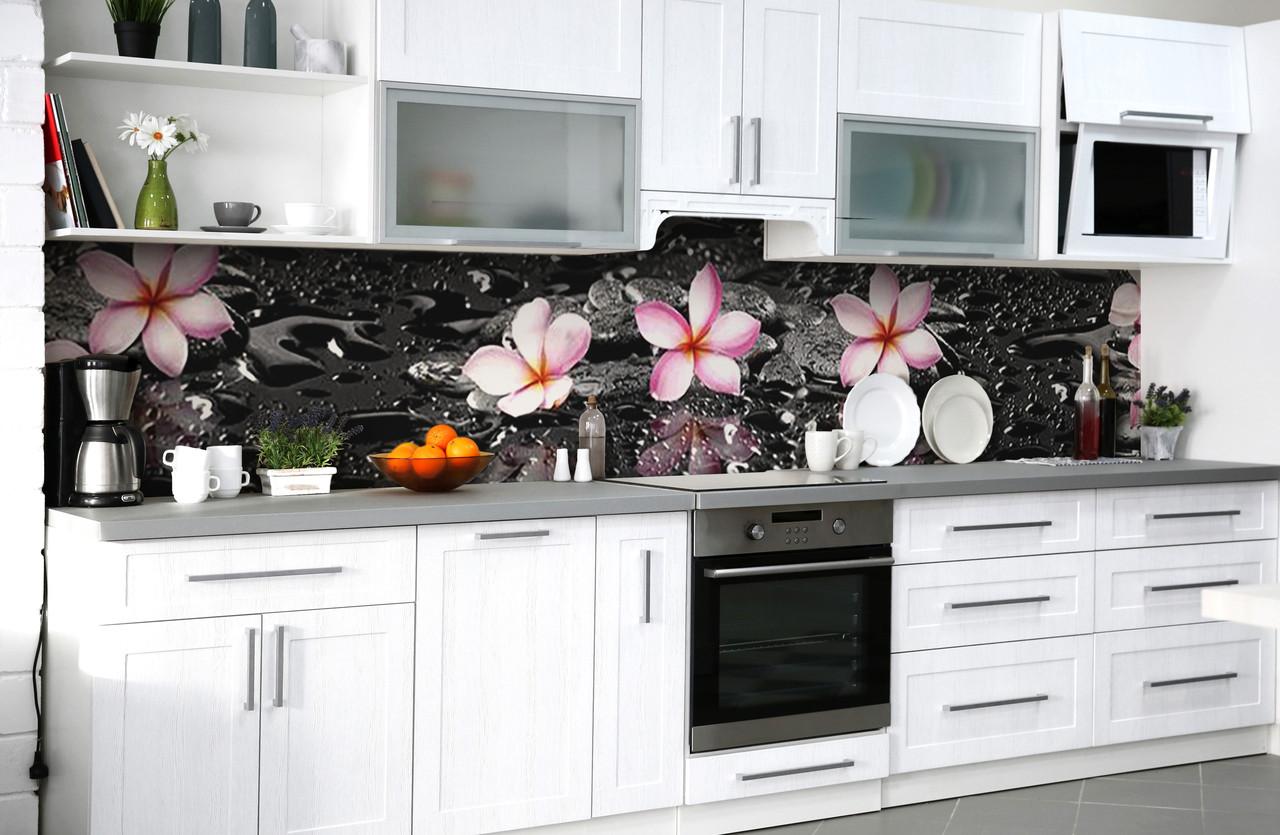 Скинали на кухню Zatarga «После дождя» 600х3000 мм виниловая 3Д наклейка кухонный фартук самоклеящаяся