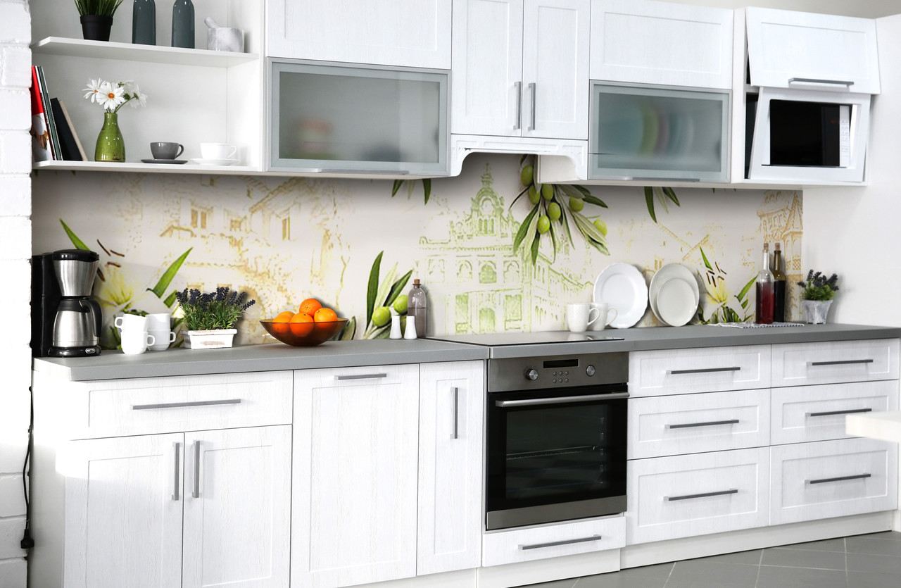Скинали на кухню Zatarga «Оливковое настроение» 600х2500 мм виниловая 3Д наклейка кухонный фартук