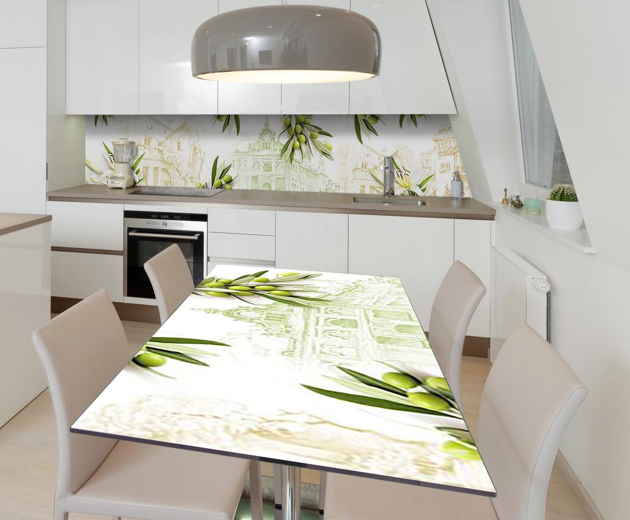 Наклейка 3Д виниловая на стол Zatarga «Оливковое настроение» 650х1200 мм для домов, квартир, столов, кофейн,
