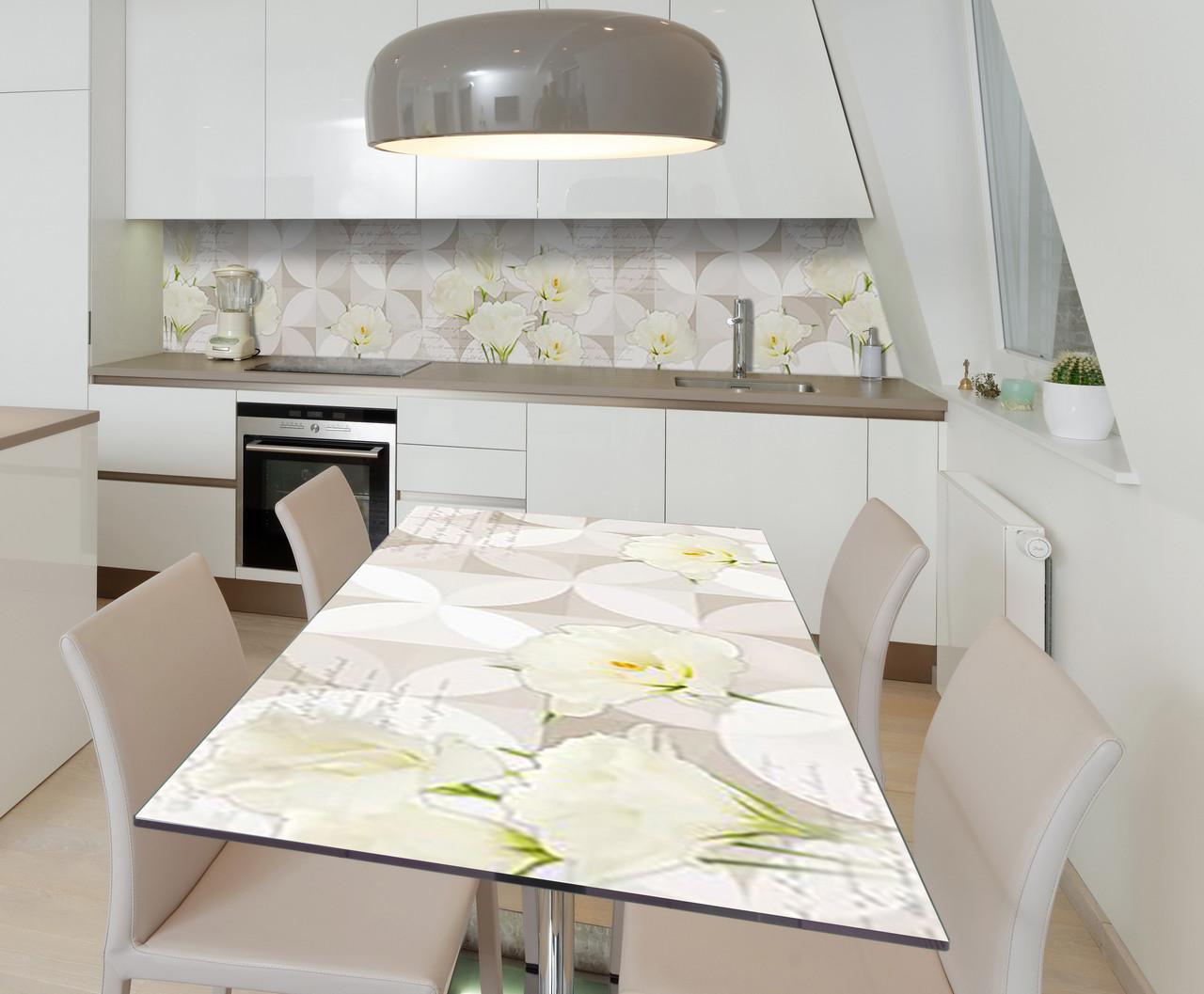 Наклейка 3Д виниловая на стол Zatarga «Кремовый бархат» 600х1200 мм для домов, квартир, столов, кофейн, кафе
