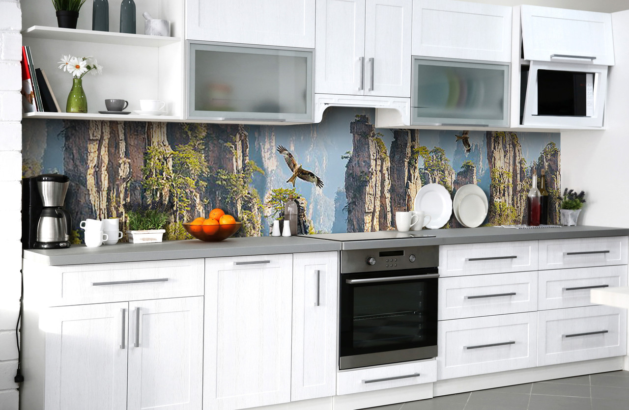 Скинали на кухню Zatarga «Каменная высь» 600х3000 мм виниловая 3Д наклейка кухонный фартук самоклеящаяся