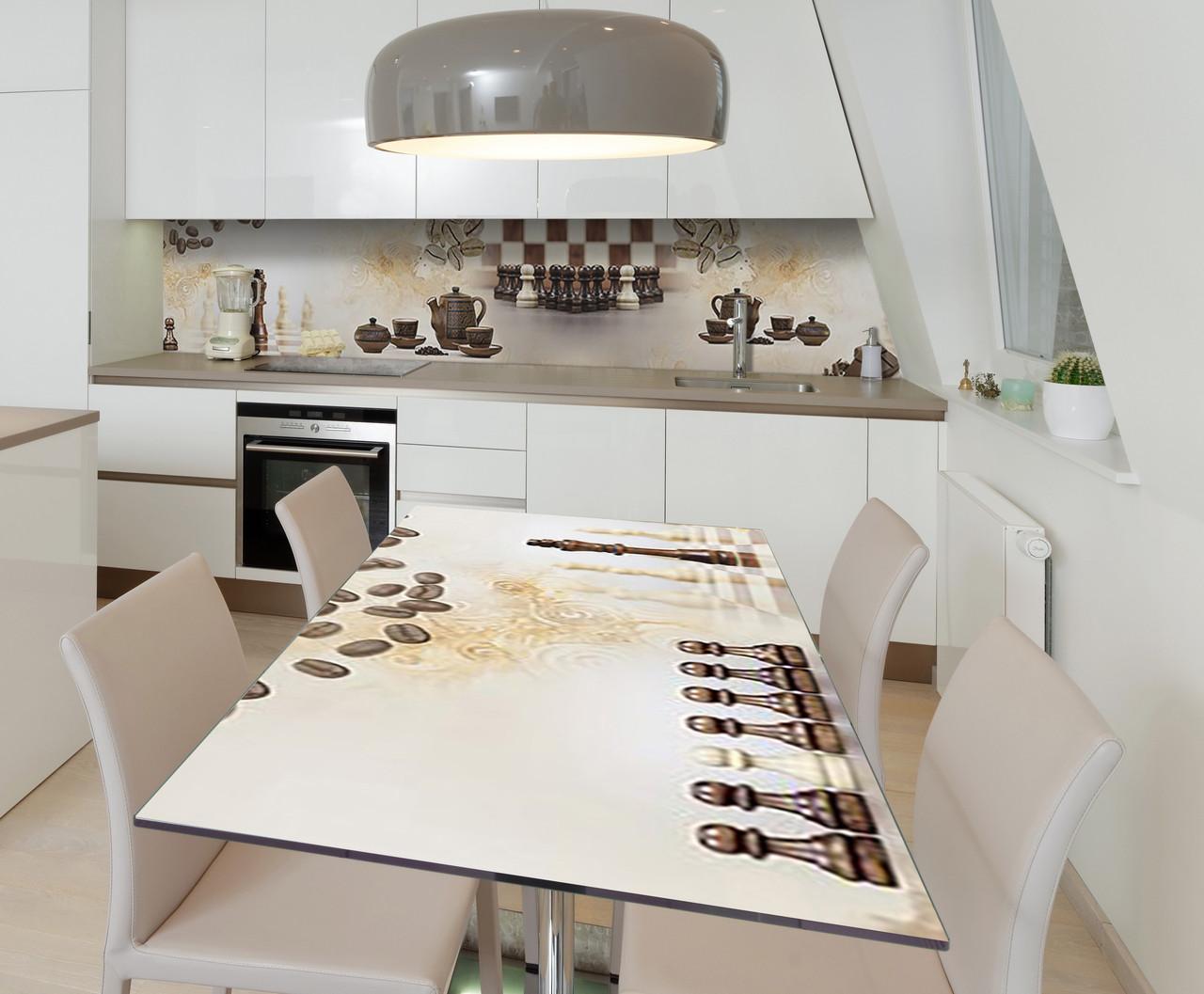 Наклейка 3Д виниловая на стол Zatarga «Шахматная церемония» 650х1200 мм для домов, квартир, столов, кофейн,
