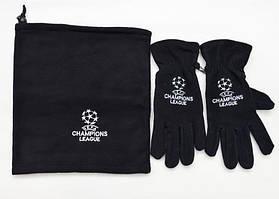 Комплект перчатки + горловик  Лига Чемпионов черные