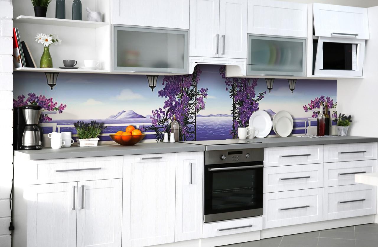 Скинали на кухню Zatarga «Лиловая сказка» 600х3000 мм виниловая 3Д наклейка кухонный фартук самоклеящаяся