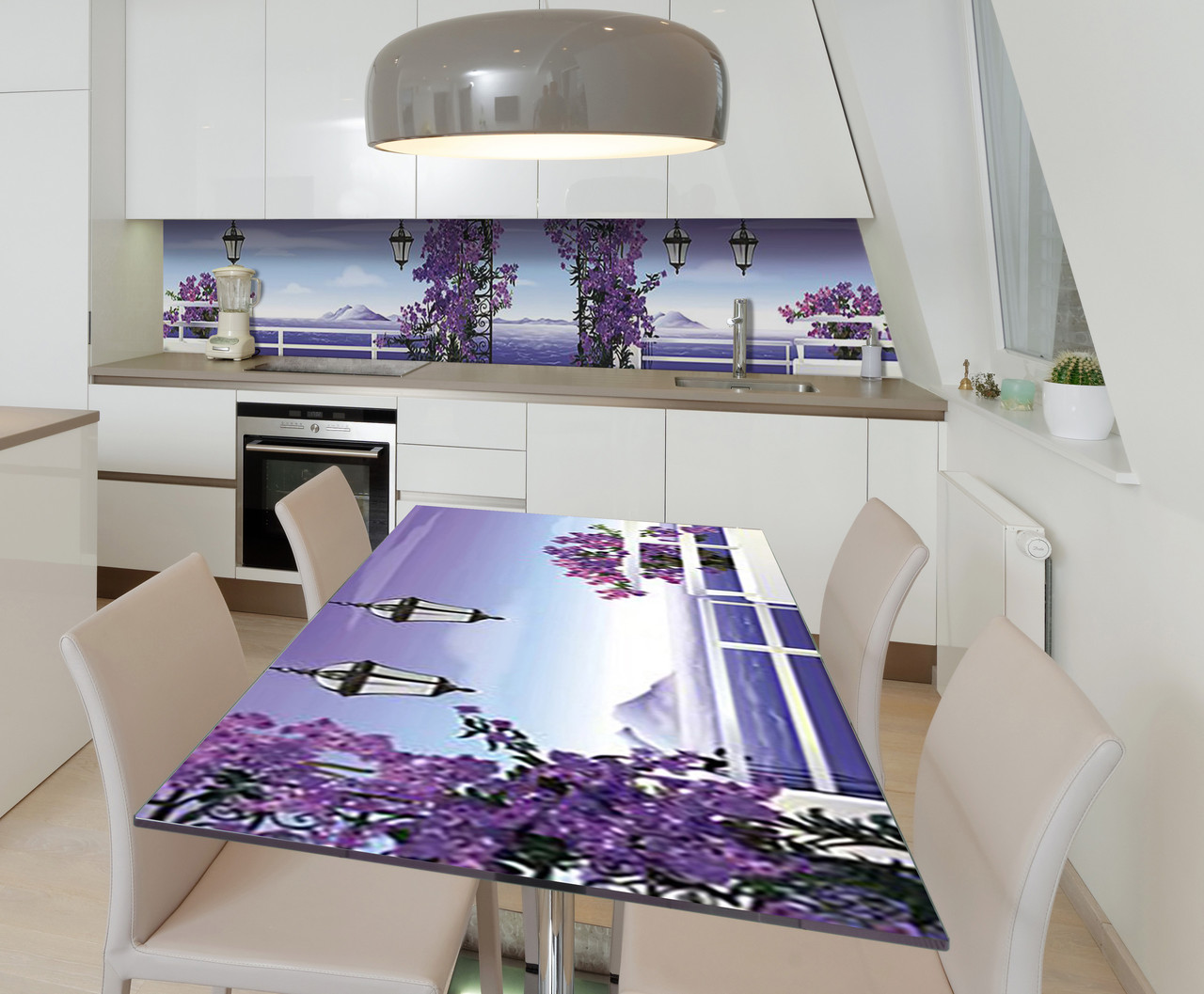 Наклейка 3Д виниловая на стол Zatarga «Лиловая сказка» 600х1200 мм для домов, квартир, столов, кофейн, кафе