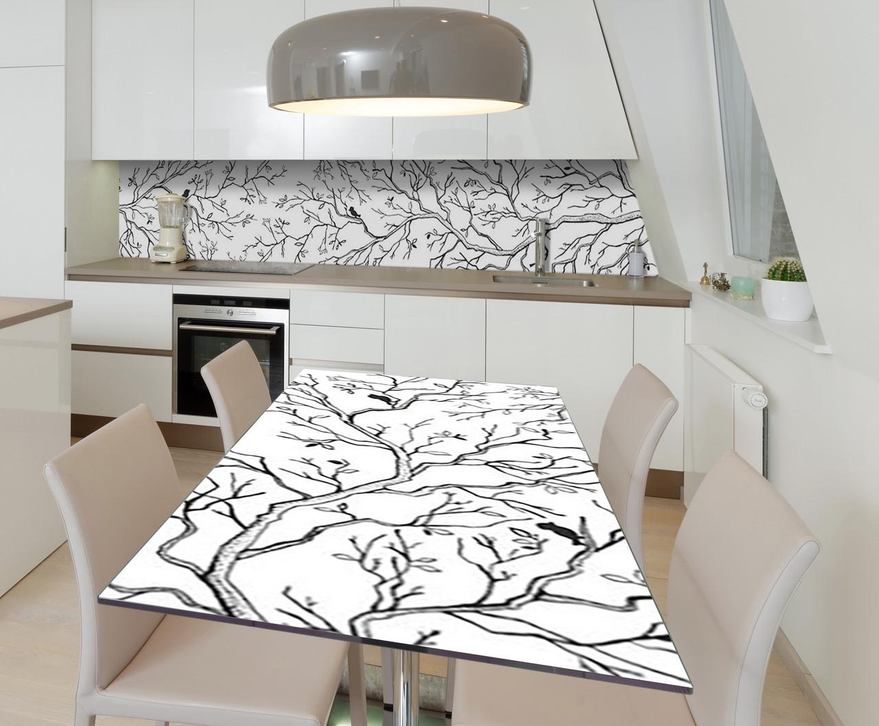 Наклейка 3Д виниловая на стол Zatarga «Утренняя песня» 600х1200 мм для домов, квартир, столов, кофейн, кафе