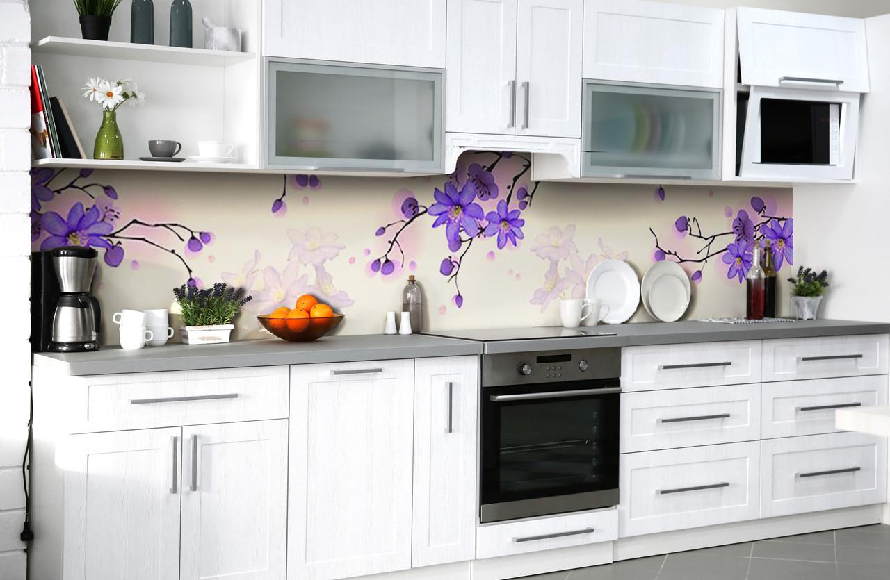 Скинали на кухню Zatarga «Фиолетовый рай» 650х2500 мм виниловая 3Д наклейка кухонный фартук самоклеящаяся