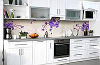 Скинали на кухню Zatarga «Фиолетовый рай» 650х2500 мм виниловая 3Д наклейка кухонный фартук самоклеящаяся, фото 1