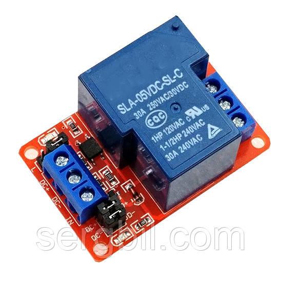 Релейный модуль, 1-канал с опторазвязкой питание 5В, контакты 250В/30А