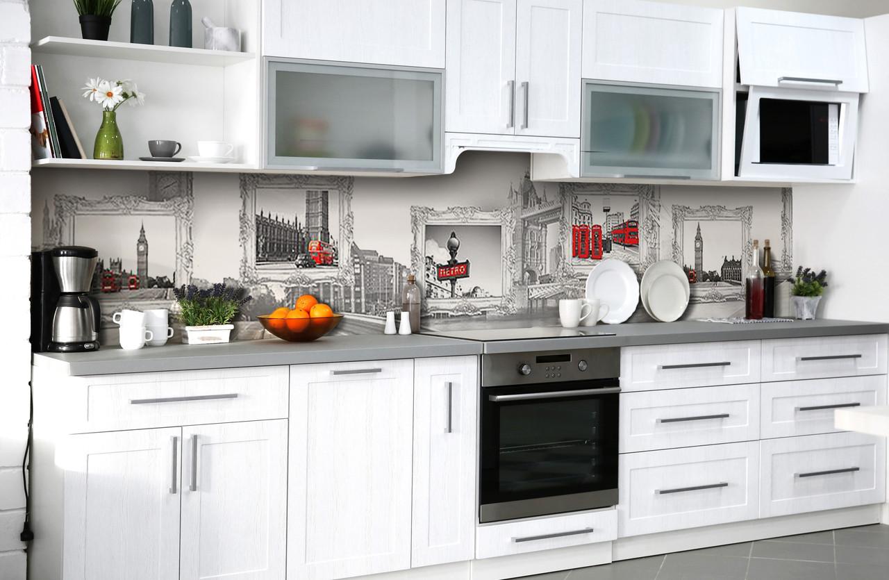Скинали на кухню Zatarga «Вспоминая Лондон» 600х2500 мм виниловая 3Д наклейка кухонный фартук самоклеящаяся