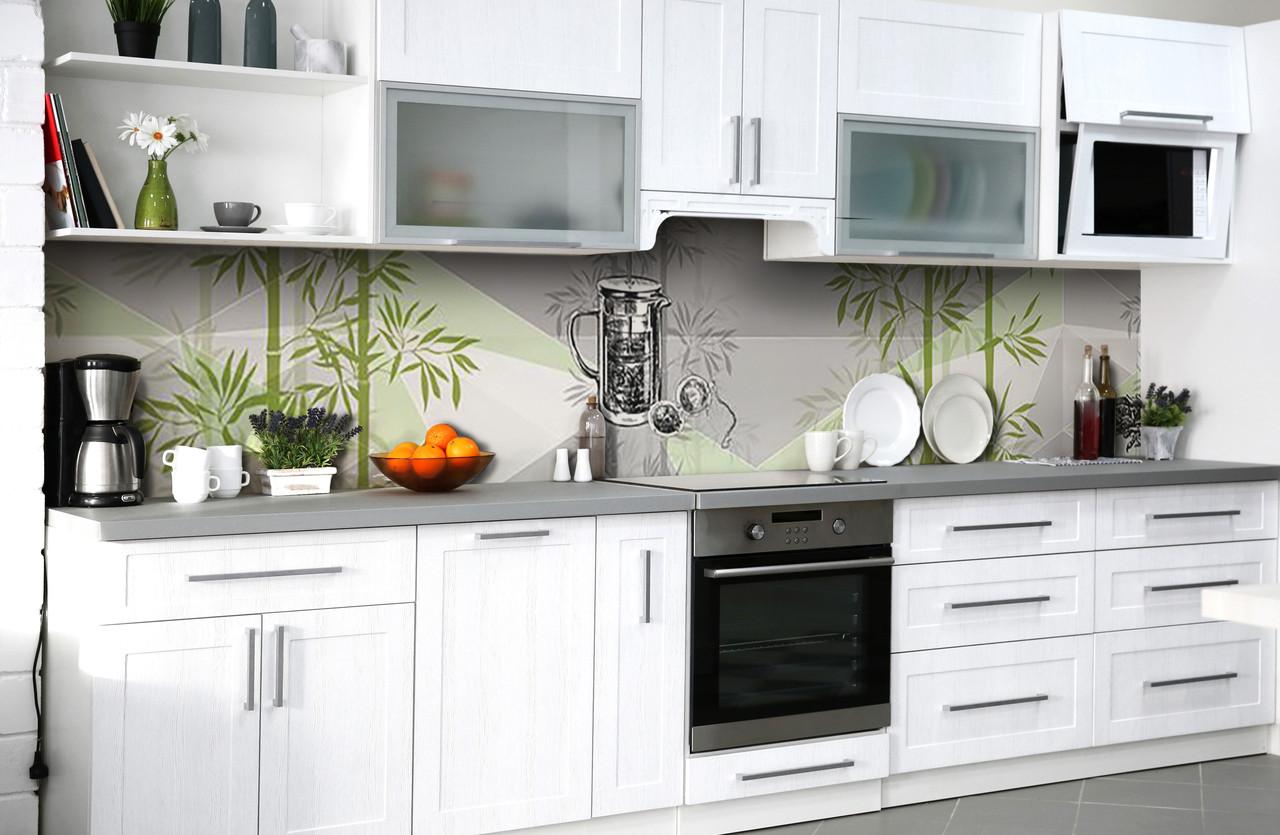 Скинали на кухню Zatarga «Бамбуковый сад» 600х2500 мм виниловая 3Д наклейка кухонный фартук самоклеящаяся