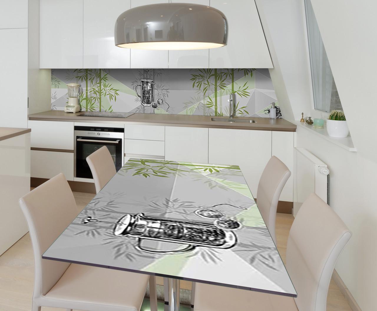 Наклейка 3Д виниловая на стол Zatarga «Бамбуковый сад» 600х1200 мм для домов, квартир, столов, кофейн, кафе