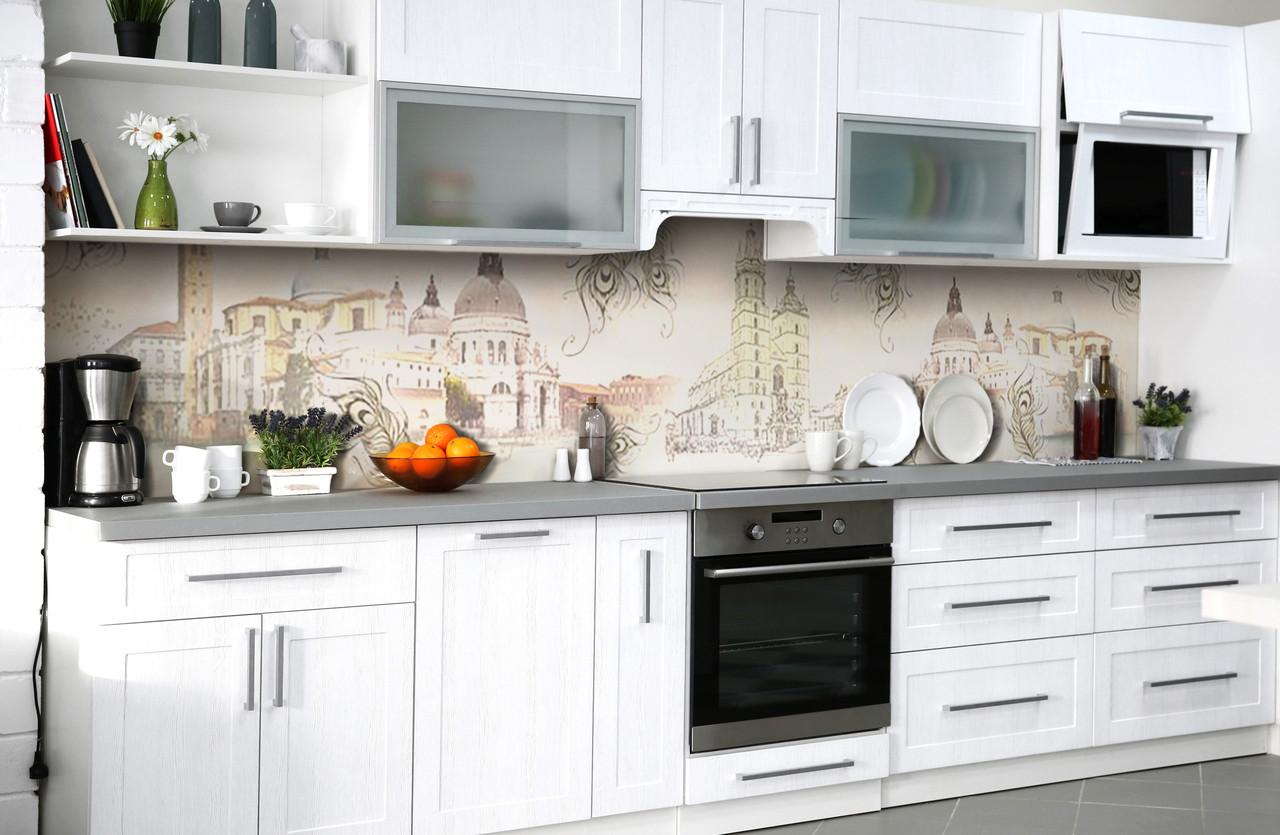 Скинали на кухню Zatarga «Чао, Италия!» 600х2500 мм виниловая 3Д наклейка кухонный фартук самоклеящаяся
