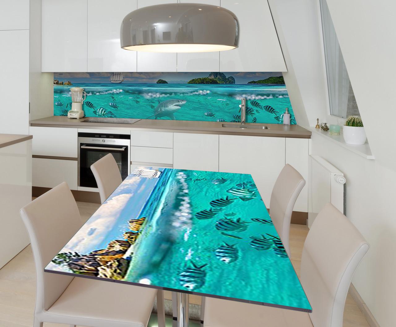 Наклейка 3Д виниловая на стол Zatarga «Акулий привет» 600х1200 мм для домов, квартир, столов, кофейн, кафе