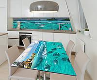 Наклейка 3Д виниловая на стол Zatarga «Акулий привет» 600х1200 мм для домов, квартир, столов, кофейн, кафе, фото 1